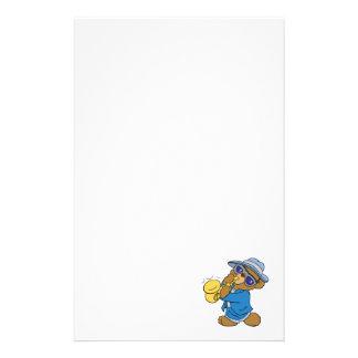 Saxaphone Jazz Blues Bear Stationery Paper