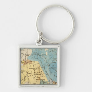 Saxe mineralogique Silver-Colored square keychain
