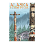 Saxman Totem Village Vintage Travel Poster Gallery Wrapped Canvas