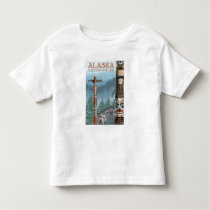 Saxman Totem Village Vintage Travel Poster Toddler T-shirt