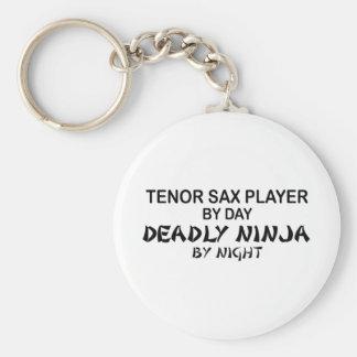 Saxo tenor Ninja mortal por noche Llavero Redondo Tipo Pin
