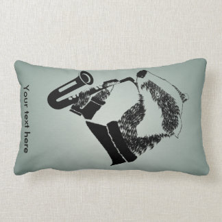 Saxofón blanco y negro del tejón personalizado cojín