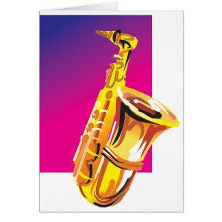 Saxofón chillón tarjeta de felicitación