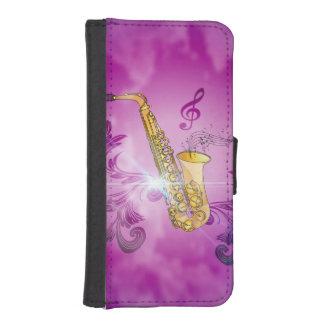 Saxofón con las notas dominantes y el clef fundas cartera para teléfono