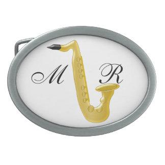 Saxofón con monograma hebilla cinturon oval