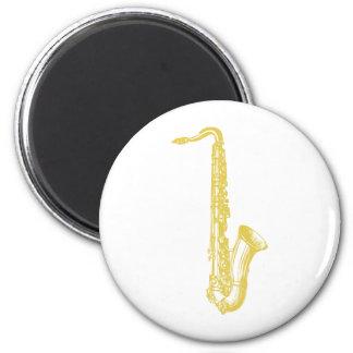 Saxofón de cobre amarillo imán de frigorífico