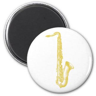 Saxofón de cobre amarillo iman de nevera