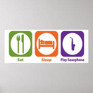 Saxofón de Eat Sleep Play Póster