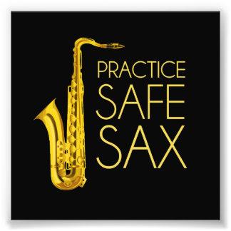 Saxofón de la caja fuerte de la práctica impresion fotografica
