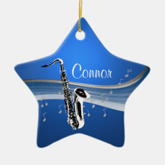 Saxofón de la música adorno navideño de cerámica en forma de estrella