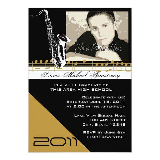 """Saxofón de la música de la graduación invitación 5"""" x 7"""""""