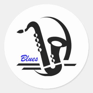 Saxofón de los azules etiquetas redondas
