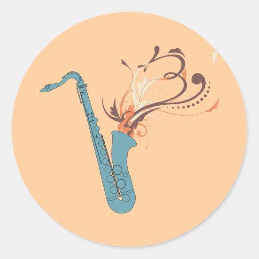 Saxofón de Swirly Pegatina