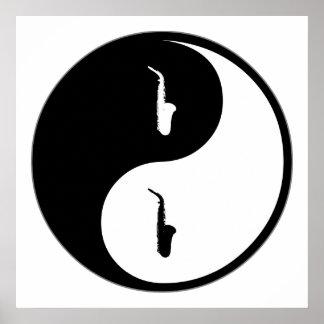 Saxofón de Yin Yang Póster