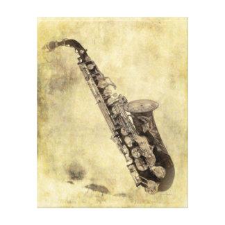 Saxofón decorativo antiguo en pastel impresiones en lona estiradas