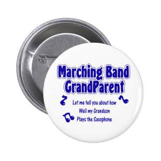 Saxofón del abuelo de la banda pin redondo 5 cm