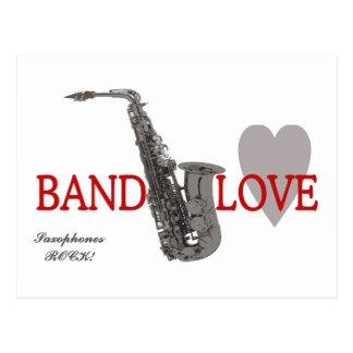 Saxofón del amor de la banda tarjetas postales