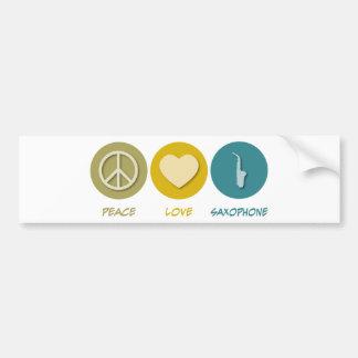 Saxofón del amor de la paz pegatina para auto