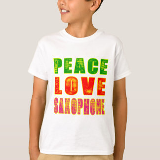 Saxofón del amor de la paz playeras