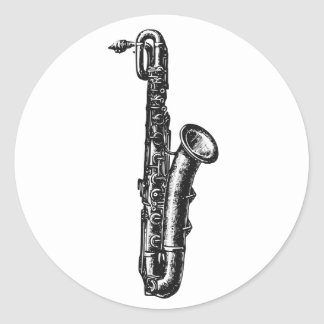 Saxofón del barítono etiqueta