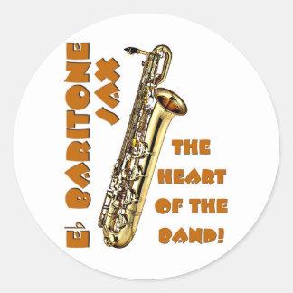 Saxofón del barítono pegatina redonda