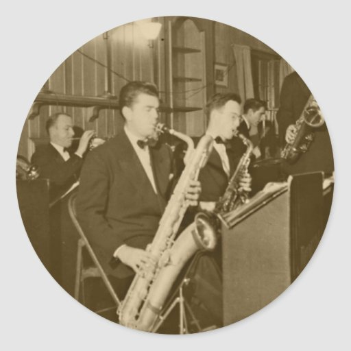 Saxofón del big band del vintage etiquetas redondas