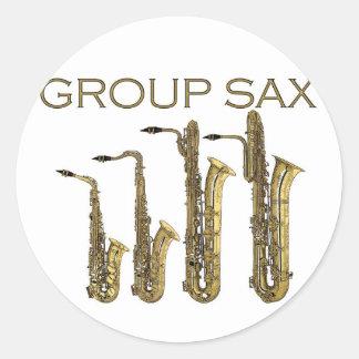 Saxofón del grupo etiquetas