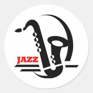 Saxofón del jazz etiqueta redonda