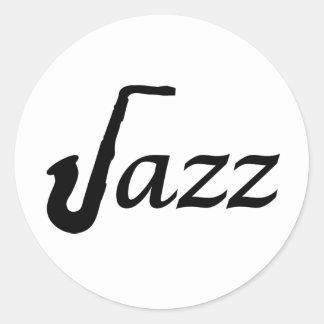 Saxofón del jazz pegatina redonda