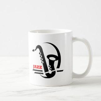 Saxofón del jazz taza de café
