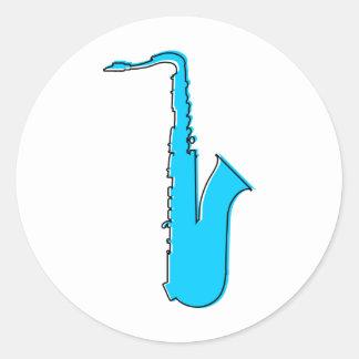 saxofón del oddRex Pegatina Redonda