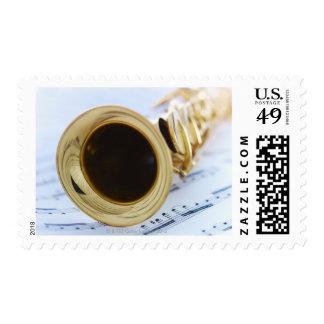 Saxofón del soprano estampillas