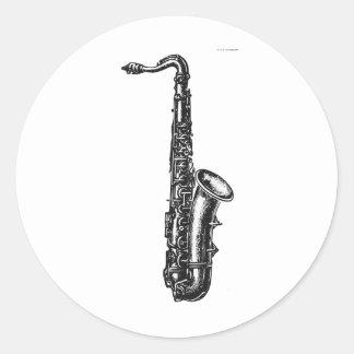 Saxofón del tenor pegatina redonda