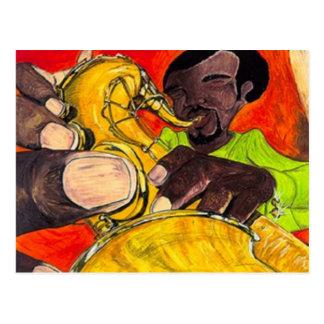 Saxofón descarado postal
