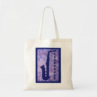 Saxofón en púrpura bolsa de mano