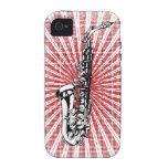 Saxofón en resplandor solar del rojo del Grunge Case-Mate iPhone 4 Carcasas