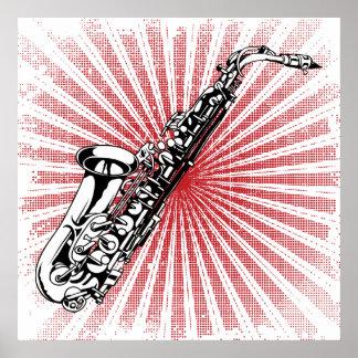 Saxofón en resplandor solar del rojo del Grunge Póster