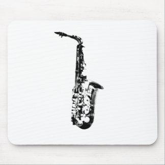 Saxofón exhausto de la mirada mouse pad
