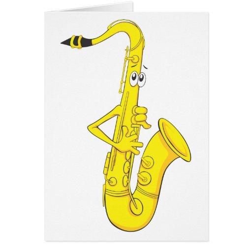 Saxofón feliz tarjetas