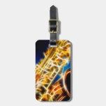 Saxofón - fractal etiquetas de maletas