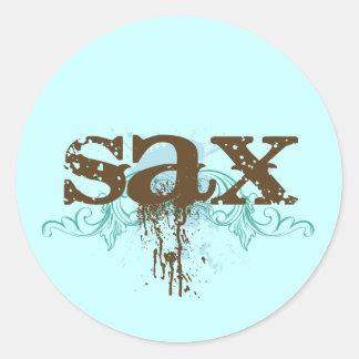 Saxofón fresco del Grunge Pegatina Redonda