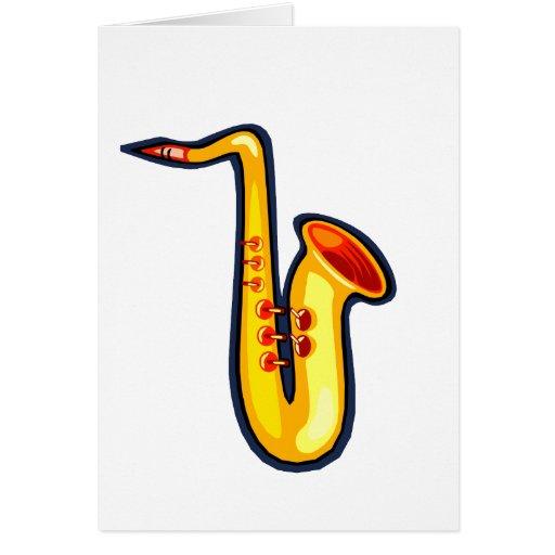 Saxofón gráfico de la derecha del revestimiento tarjeta pequeña
