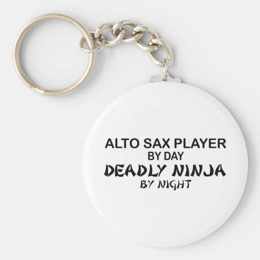 Saxofón Ninja mortal del alto por noche Llavero Redondo Tipo Pin