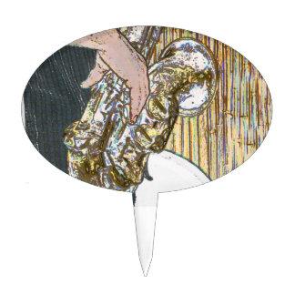 saxofón posterized del jugador de saxofón de oro decoraciones de tartas
