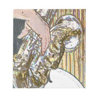 saxofón posterized del jugador de saxofón de oro libretas para notas