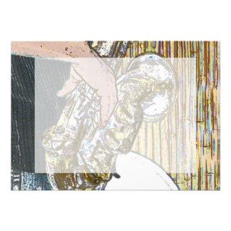 saxofón posterized del jugador de saxofón de oro comunicados personalizados