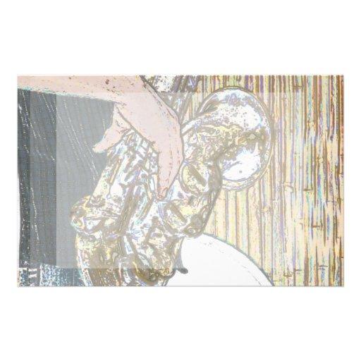 saxofón posterized del jugador de saxofón de oro papeleria personalizada