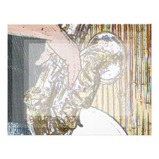 saxofón posterized del jugador de saxofón de oro plantillas de membrete