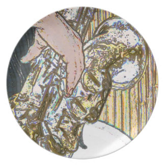 saxofón posterized del jugador de saxofón de oro plato de comida