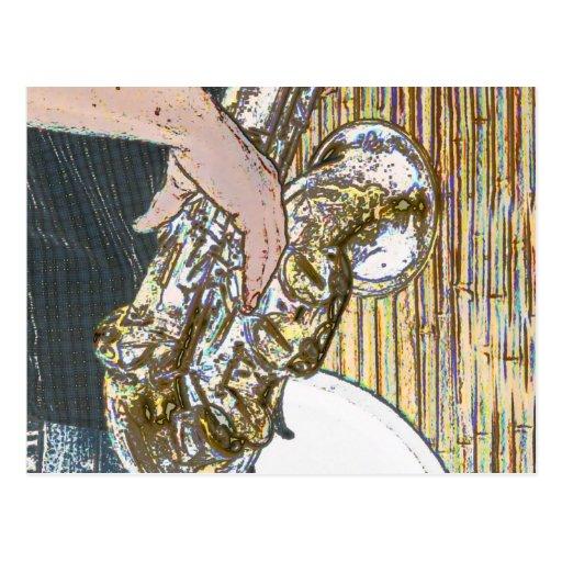 saxofón posterized del jugador de saxofón de oro postal